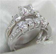 2.76ct Princess Cut Engage/Wedding Ring Set, Size 8½