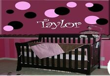 POLKA DOTS & PERSONALIZED NAME VINYL WALL DECALS DECOR