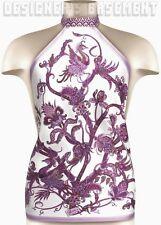GUCCI purple PHOENIX birds Floral TOPAUDE silk scarf HALTER top NWT Authentic!