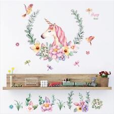 Beautiful Unicorn Flower Wall Sticker Vinyl Art Decal Home Decor Room Mural DIY