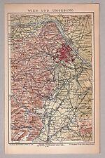 Wien und Umgebung - Alte Karte. Lithographie 1903