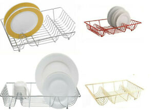 Large Chrome Plated Metal Wire Sink Top Dish Drainer Plates Rack Holder Coloured