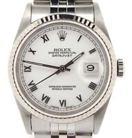 Rolex Datejust Mens Stainless Steel & 18K White Gold w/ White Roman Dial 16234