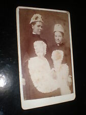 Cdv old photograph two maid servants by Wright at Shrewsbury c1890s