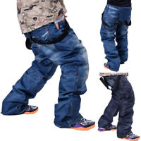 Men's Waterproof Ski Pants Denim Outdoor Sports Snowboard Jeans Trousers Size