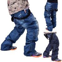 Men's Waterproof Ski Pants Denim Outdoor Sports Snowboard Jeans Trousers Size