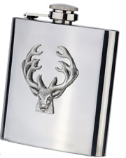 Bisley 6oz Stainless Steel Hip Flask with Pewter Stag in Presentation Box