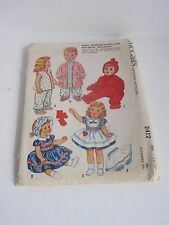 "Vtg 60's McCalls 2412 Baby Dolls Tiny Tears Betsy Wetsy Walker Clothes 15"" 17"""