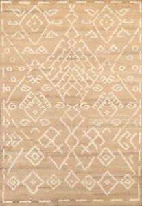 Geometric Modern Moroccan Oriental Area Rug Hand-knotted Plush Wool 5'x7' Carpet