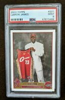 LEBRON JAMES RC ROOKIE CARD 2003-04 TOPPS BASKETBALL #221 PSA 9 MINT 4X CHAMPION