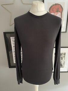 John Smedley Sea Island Cotton Grey Jumper Sweater Fine Knit Lightweight Medium