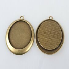 1 Cabochon Setting Cameo Frame Pendant Oval Antiqued Bronze 40x30 Flatback