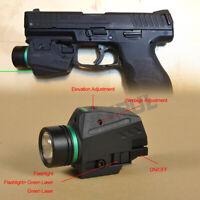 Tactical LED Flashlight Green Laser Sight Combo For 20mm Rail Mini Glock Pistol