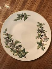 """Boehm Chickadee and Holly Plate 10 1/2"""" Fine Bone Porcelain Made in England"""
