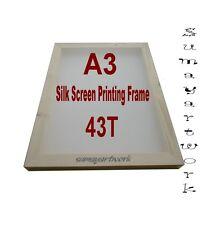 Silk Screen Printing Frame 1xA3 43T (110 US) mesh Textile Wooden Unit Quantity 1