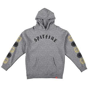 Spitfire Wheels Hoody Sweatshirt Old E Combo Sleeve Pullover Grey  Heather
