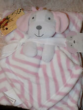 BABY BLANKET & SECURITY PUPPY DOG PINK LOT 2 COMBO ZIGZAG LINES CUDDLY FRIEND