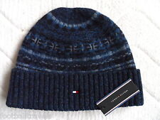 TOMMY HILFIGER KYLE BLUE LAMBSWOOL BEANIE Tuque MENS Mutze Hat NEW WITH TAGS