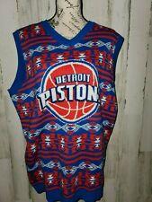 Detroit Pistons UGLY SWEATER VEST Men's Size Large Blue/Red Knit V-Neck