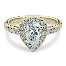 Cut Moissanite with Accents Halo Ring Lovely 14K Yellow Gold 1.35 Carat Pear