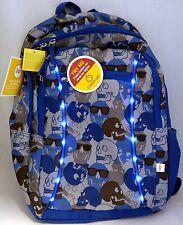 Circo Youth Backpack Kids School Travel  Bag Light Up Skulls Blue Gray LED 16X12