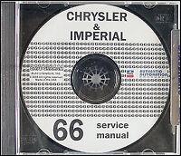 1966 Chrysler Repair Shop Manual CD Imperial 300 New Yorker Newport LeBaron