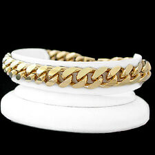 "New  9.5"" 14K GOLD GL 11mm ROUNDED CURB Solid Link Bracelet 