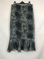 Vintage ladies midi skirt frilled floral grey mix size 10 003