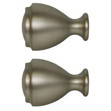 Allen + Roth Set Of 2 Brushed Pewter Finish Drapery Curtain Rod Finials 0773161