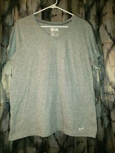 Nike Dri-Fit Women's Gray V-Neck Loose Fit Short Sleeve Shirt Size XL