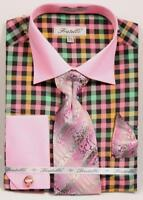 Fratello Men's Fashion Dress Shirt w/Tie and Cufflinks Rose Pink Plaid FRV4139P2