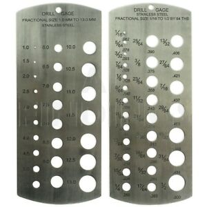 "Drill Bit Gauge metric Imperial  1/16 -1/2"" & 1-13mm set of 2 stainless steel"