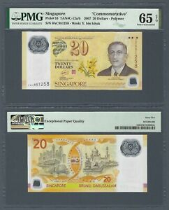 "SINGAPORE 20 Dollars 2007 Polymer Commemorative, P-53, PMG 65 EPQ GEM UNC ""0AC"""