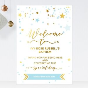 Welcome Sign For Christening Birthday Baptism Gold Effect & Blue Stars (ST25)