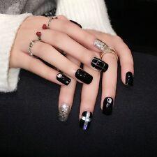 Abalone Crossing Nail Decoration Tips Black Shimmer UV Medium False Nails Z365
