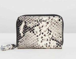 NEW TED BAKER Sabel Tassel Zip Around Small Purse Wallet X-Jet Snakeskin Tag