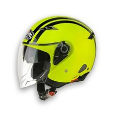 CASCO HELMET  JET CITY ONE FLASH YELLOW NEW GRAPHIC 2015 AIROH IN PROMO! TG L