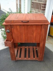 Wooden Rustic Cooler With Four Wheels and Spigot