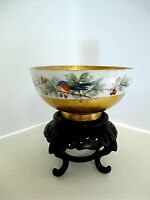 Stunning Antique Gold & Porcelain Footed Bowl-Handpainted W/Birds on Vine-Signed