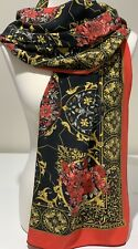 Scarf / Shawl ~ 100% Mulberry Silk ~ Red Roses & Gold on Black ~ Medium Weight