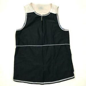 VINTAGE Louis Garneau Cycling Jersey Size Small Black White Shirt 3/4 Zip Tank
