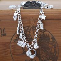 Silver Plated Fashion Women 13 Charm Pendant Beautiful Chain Bracelet Bangle New
