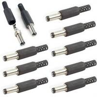 5 Pcs Black 2.1mm x 5.5mm DC Power Male Plug Jack DC Connector Adapter Long Head