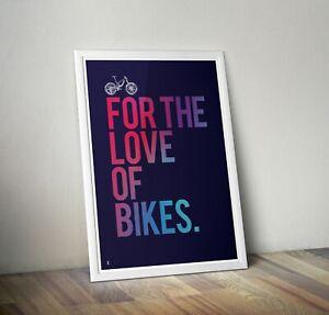 Cycling Art Print - Santa Cruz MTB Mountain Bike Love typography A3, A2, Posters