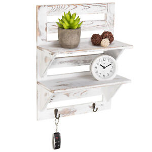 MyGift 2 Tier Rustic Whitewashed Wood Wall Mounted Display Shelf with Key Hooks