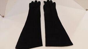 ITALIAN DESIGNER LADIES BLACK WOVEN COTTON DRESS GLOVES UNLINED SIZE 7.5