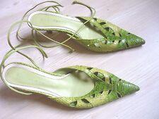 Escarpins cuir vert - Bon état - Pointure 37,5