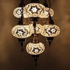Mosaik Hängelampe Deckenlampe Lampe Orientalisch Mosaiklampe 7 L Kugeln Weiß