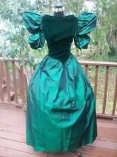 VINTAGE 80s PROM PARTY DRESS EMERALD SCARLETT O'HARA PUNK M