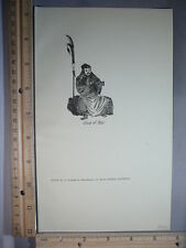 Rare Antique Original VTG 1922 Kuan Ti God Of War Asian Illustration Art Print